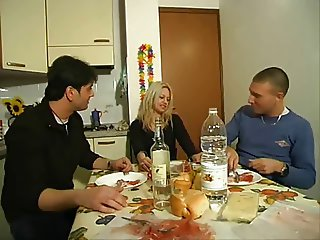 Clarissa blonde milf two guys