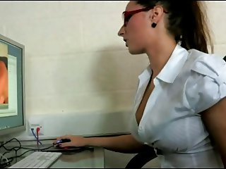 Sexy Office Worker Caught Fingering Her Pussy At Work