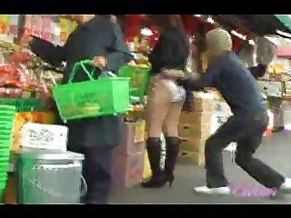 Guy pulls down panties on 38 Jap chicks
