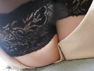 Stockings upskirt on a train station 1