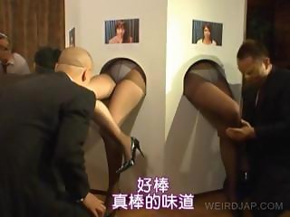 Foot licking on gloryhole with asians