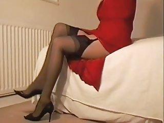 Red Suit Black Lingerie