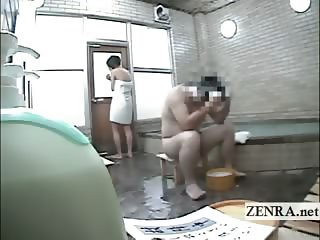 Subtitled nude Japanese woman in male bathhouse on dare