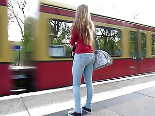 Following jucy bum in Blue Jeans Blonde Hair