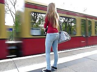 Following jucy bum in Blue Jeans Blonde Hair