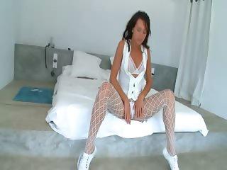 Super weird white stockings and brunette
