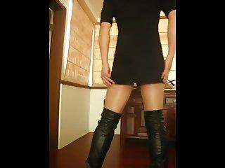 Mini Dress Thigh Boots plus black CB6000