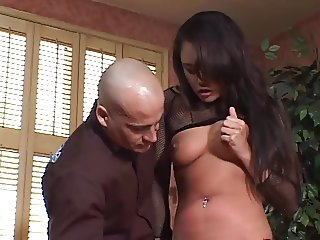 Tight Asian in fishnets takes deep drilling on couch