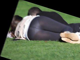 see thru leggins in the park