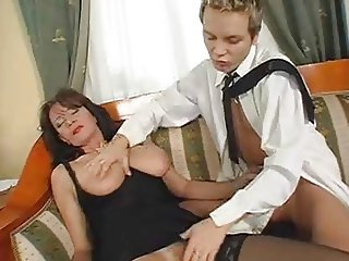 Superb Hairy Mature Squirts While Fucking Young Cock