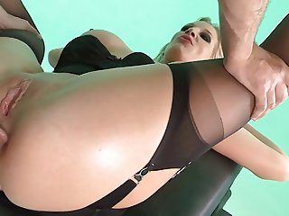 British slut Rebeca M gets fucked up the arse in stockings