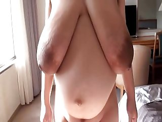 Luxurious huge dark areolas nipples saggy beautiful tits
