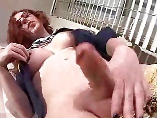 Ginger Redhead Shemale Juliette Jerks on her Feet