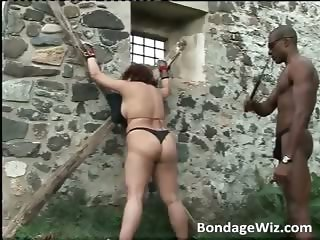 Chubby busty redhead gets tied and wet part1