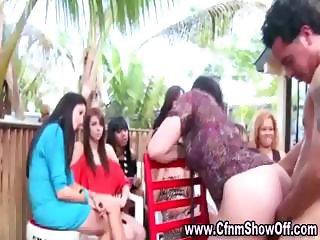 CFNM guy jizzes on girls ass in public