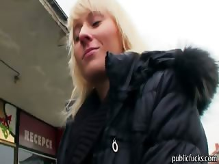 Blonde skank agreed to sucks a cock and fucked in the toilet
