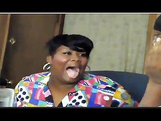 Ebony Babe gets her face turned white XD