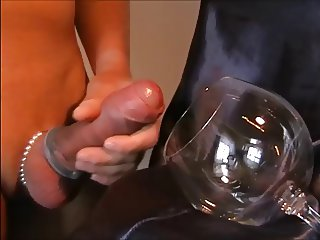 Big shaved Cock Cream Cumshot in Glas