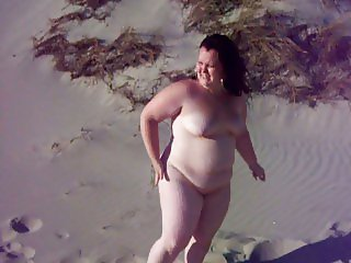 Fat bbw girl on a beach