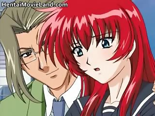 Sexy redhead anime babe blows tube part6