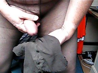 Nylon Wank and Cum