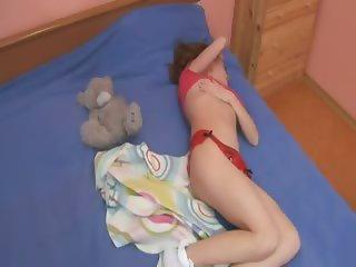 Sleepy teen rubbing her sleepy vagina