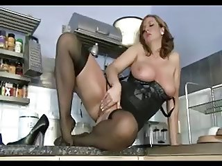 British milf in black nylons