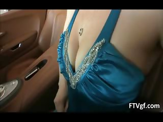 Hot glamour babe Meghan is driving a car part6