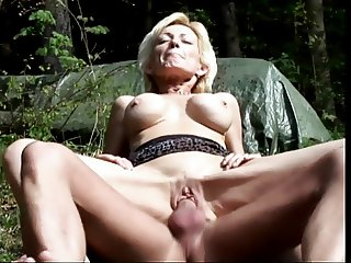 Mature blonde sucks cock and gets fucked