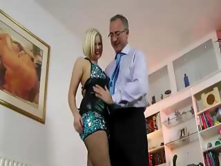 Stockings amateur blonde brit fingers herself