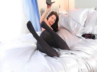 Pantyhose and ultra shocking striptease