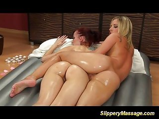 Lesbian babes loves giving massages