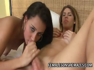 Bia Bastos And Bianca Lopes A Brazilian Shemale Cock FOr A Wet Latina Pussy