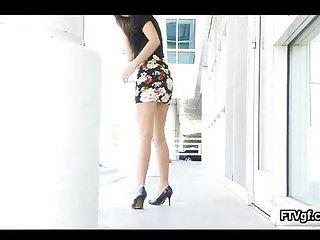 Beautiful brunette babe showing