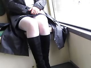 Girl in white sstockings in a bus 1