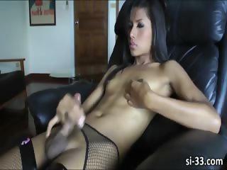 Slim ladyboy sweetheart Gam strokes cock