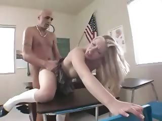 student in nylons falls on teachers