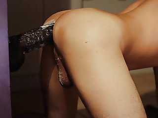 Sissy Boy Huge Black Dildo Poppers