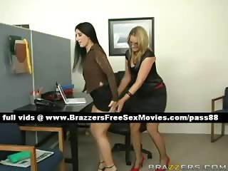Two gorgeous girl at work playng around