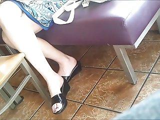 Candid Feet Working MILF At Restaurant