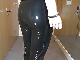 Sexy walk in my brand new latex liquid VINYL legging