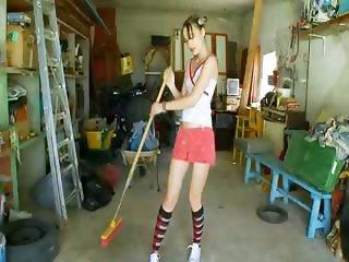 The most erotic garage girl posing