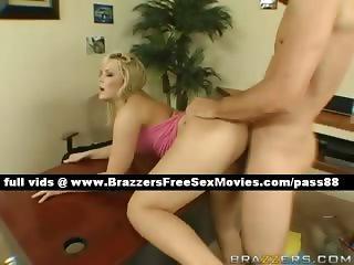 Adorable blonde slut on the desk gets her huge ass fucked hard