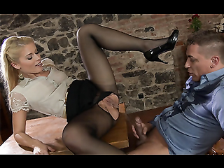 Squirting pantyhose secretary