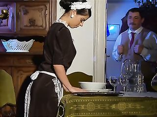 An ideal housemaid in stockings knows her duties and sexual needs of hes master